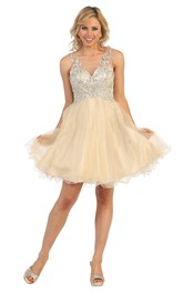 A-Line Short Bateau Empire Tulle Illusion Dress With Beading And Appliques