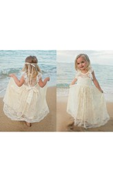 Flower Girl Scoop Neckline Allover Lace Floor Length Dress