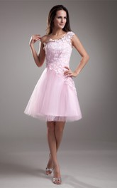 Noble Appliqued Mini One Shoulder a Line Sleeveless Special Occasion Dresses