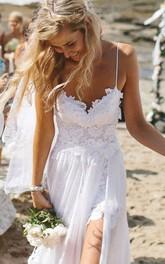 Elegant Spaghetti Straps Lace Appliqeus Beach Prom Dress Long Chiffon