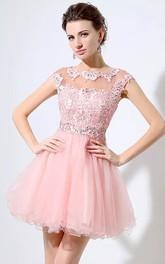 A-line Short Sleeve Lace Tulle Bateau Illusion Short Mini Homecoming Dress