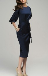 Chic Navy Blue Maxi Evening Retro Style Wedding Pencil With Belt Dress