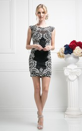 Pencil Mini Scoop-Neck Cap-Sleeve Lace Illusion Dress With Embroidery