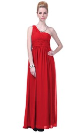 One-shoulder Pleated and Ruching Dress With Belt