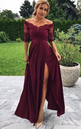Chiffon Lace Ankle-length A Line Half Sleeve Vintage Prom Dress