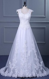 A-Line Short Off-The-Shoulder One-Shoulder V-Neck Beading Chapel Train Tulle Lace Sequins Satin Dress