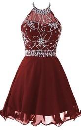 Halter Short Prom Dress With Beadings And Rhinestones