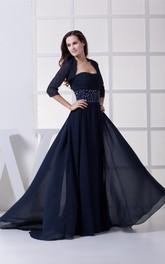 Sleeveless Chiffon Floor-Length Ruched Jeweled Waist and Dress With Bolero
