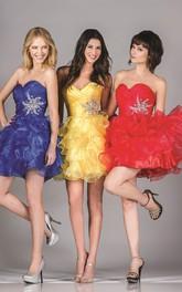 A-Line Mini Sweetheart Sleeveless Organza Dress With Ruffles And Criss Cross