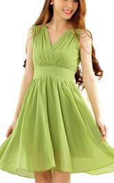 Sleeveless V-neck A-line Short Ruched Chiffon Dress