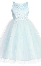 Sleeveless A-line Dress With Beadings and Appliques