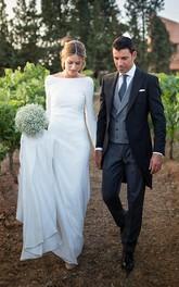 Sexy Chiffon Sheath Deep-V Back Floor Length Wedding Dress with Chapel Train