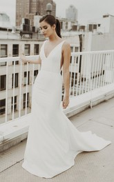 Mermaid V-neck Satin Sexy Wedding Gown With Train And Deep V-back