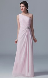 Graceful One-Shoulder Gown With Crystal Details