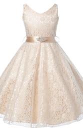 Sleeveless V-neck Lace Dress With Beadings and Bow