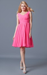 Stunning Sleeveless Pleated Knee Length Chiffon Dress