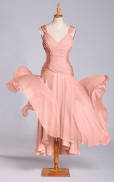 Impressive A-line Chiffon Dress with Ruched Bodice