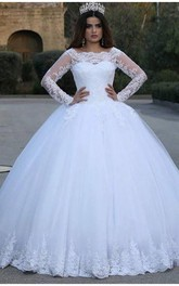 Modern Long Sleeve Lace 2018 Wedding Dresses Tulle Ball Gown