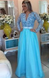 A-line Long Sleeves V-neck Tulle Applique Floor-Length Dresses