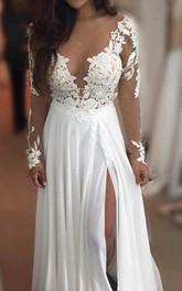 A-Line Chiffon Lace V-neck Long Sleeve Zipper Dress