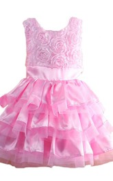 Sleeveless A-line Tiered Dress With Flowers and Bow