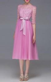Half Sleeve Bowknot Appliques A-Line Prom Dress