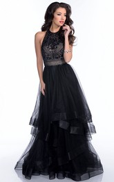 Layered Tulle Sleeveless Prom Dress With Rhinestones And Open Back