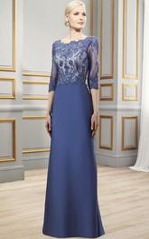 Maxi 3-4 Sleeve Appliqued Bateau Neck Satin Formal Dress With Deep-V Back
