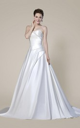 Strapless Beaded Criss Cross Elegant Wedding Dress With Button Back And Draping