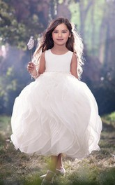 Flower Girl Scoop Neck Empire Organza Ball Gown With Ruffles