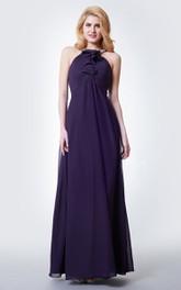 Sleeveless Beaded Halter Neck Pleated Long Chiffon Dress