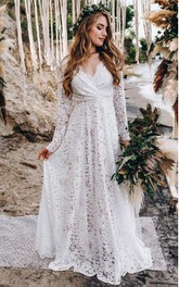 Modern V-neck Lace A Line Floor-length Long Sleeve Wedding Dress with Criss Cross and Ruching