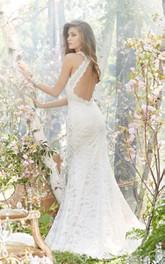 Captivating V-Neckline Floor Length Lace Dress With Beaded Belt