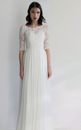 Ethereal Sheath Chiffon Bateau Half-Sleeve Wedding Dress with Pleat