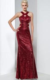 Sheath Sequins Hollow Floor-Length Evening Dress