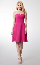 Scalloped Neck Criss-crossed Short Chiffon Dress