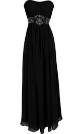 Strapless Ruffle Chiffon Dress With Beading