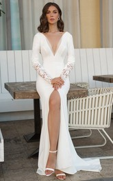 Casual V-neck Sheath Floor-length Sweep Train Long Sleeve Wedding Dress With Split Front