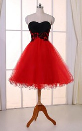 Sweetheart Knee-length Tulle Dress With Appliques