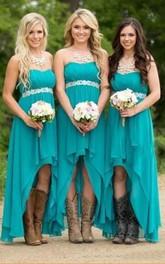 Sweetheart A-line High-low Sleeveless Chiffon Bridesmaid Dress with Zipper Back