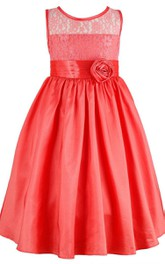 Sleeveless A-line Pleated Dress With Lace Bodice