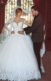 Gorgeous Long Sleeve Lace Ball Gown Wedding Dress 2018 With Train on Sale