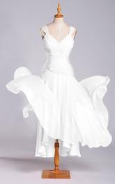 A-line V-neck Tea-length Dress with Dropped Detail