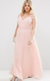 Sheath V-Neck Cap-Sleeve Long Chiffon Bridesmaid Dress With Illusion