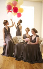A-Line Sleeveless Chiffon Convertible Bridesmaid Dresses Floor Length Prom Gowns