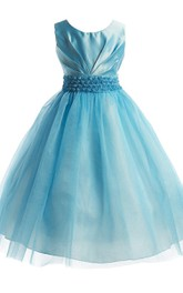 Sleeveless A-line Tulle Dress With Flowers and Pleats