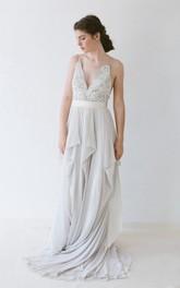 V-Neck Sleeveless Pleated Chiffon Dress With Back Bow