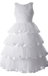 Sleeveless A-line Tiered Dress With Appliques and Beadings