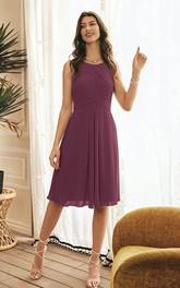 Simple Halter A Line Sleeveless Knee-length Chiffon Bridesmaid Dress With Criss Cross