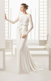 Flowing Long-Sleeved Dress With Bow And Decoratived Buttons